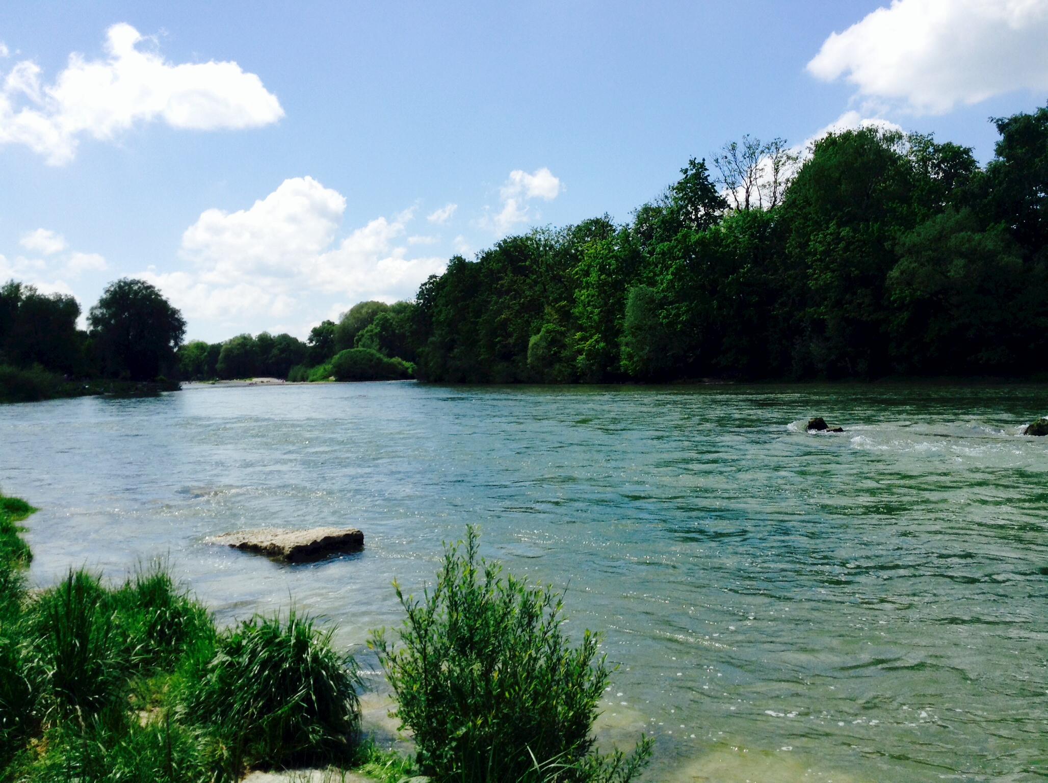 Beautiful scene at the river Isar