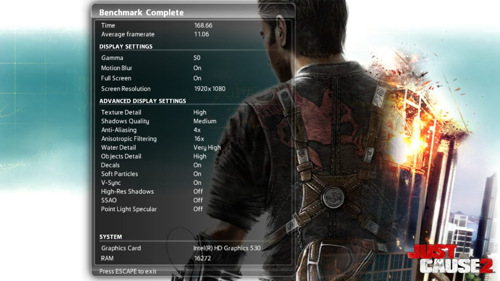 Just Cause 2 6500 Benchmark 1080p