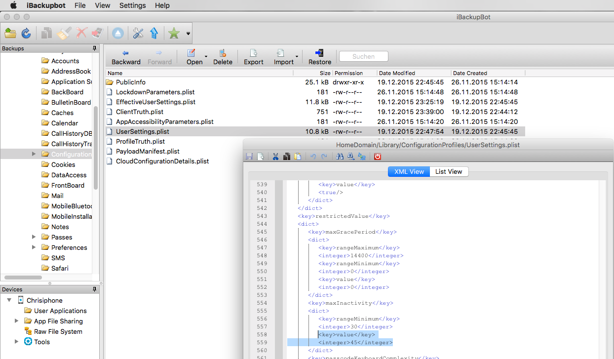 iBackupbot XML Editor (auto lock seconds)